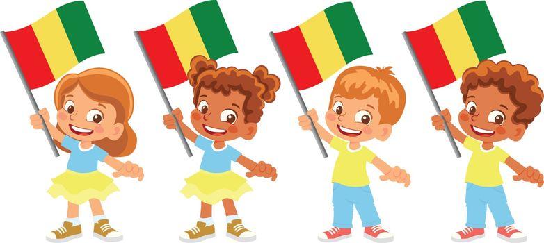 Guinea flag in hand. Children holding flag. National flag of Guinea vector