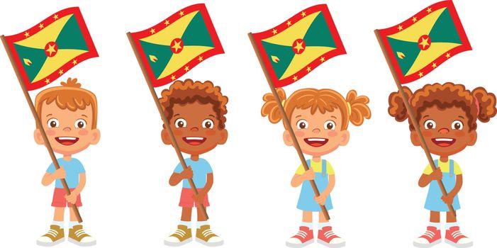 Grenada flag in hand. Children holding flag. National flag of Grenada vector