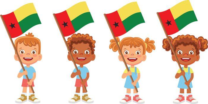 Guinea-Bissau flag in hand. Children holding flag. National flag of Guinea-Bissau vector