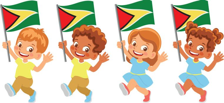 Guyana flag in hand. Children holding flag. National flag of Guyana vector