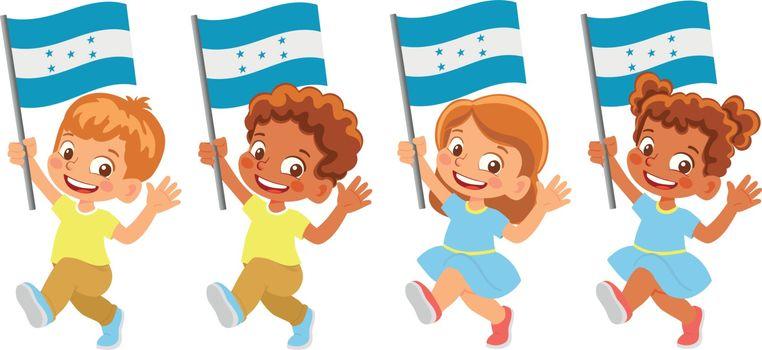 Honduras flag in hand. Children holding flag. National flag of Honduras vector