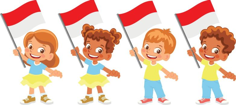 Indonesia flag in hand. Children holding flag. National flag of Indonesia vector