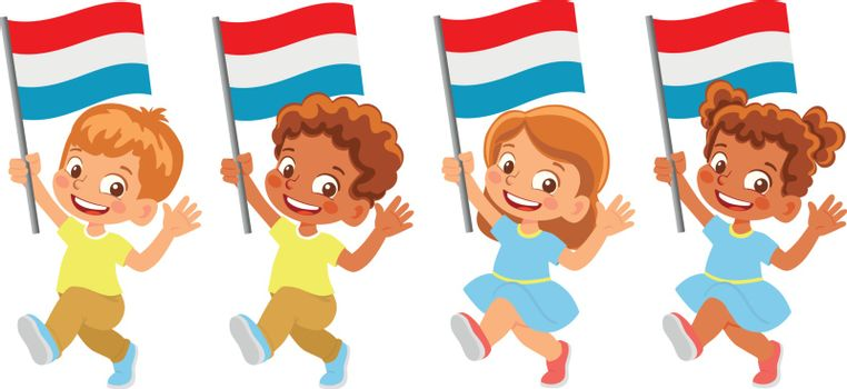 luxembourg flag in hand. Children holding flag. National flag of luxembourg vector