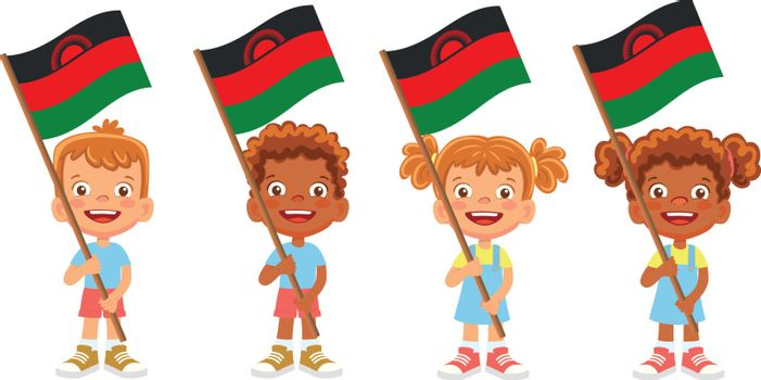 Malawi flag in hand. Children holding flag. National flag of Malawi vector