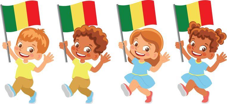 Mali flag in hand. Children holding flag. National flag of Mali vector