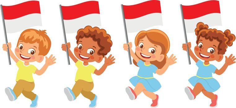 Monaco flag in hand. Children holding flag. National flag of Monaco vector