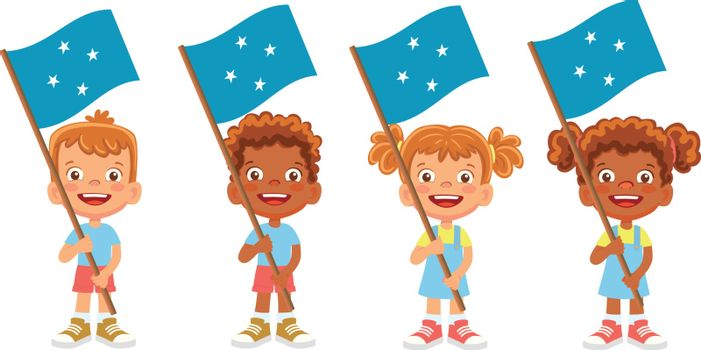 Micronesia flag in hand. Children holding flag. National flag of Micronesia vector
