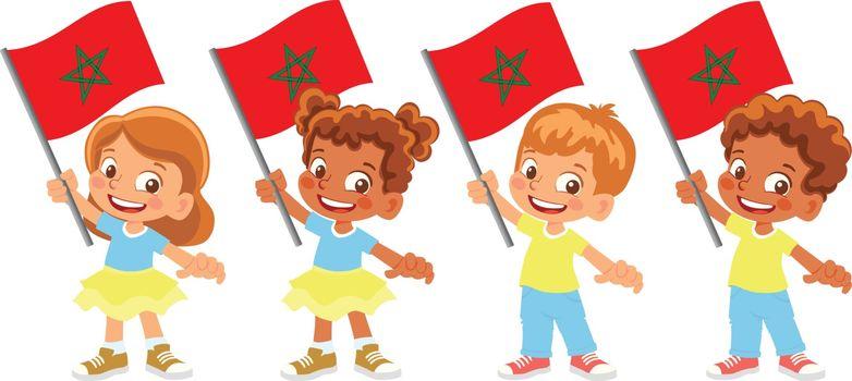 Morocco flag in hand. Children holding flag. National flag of Morocco vector