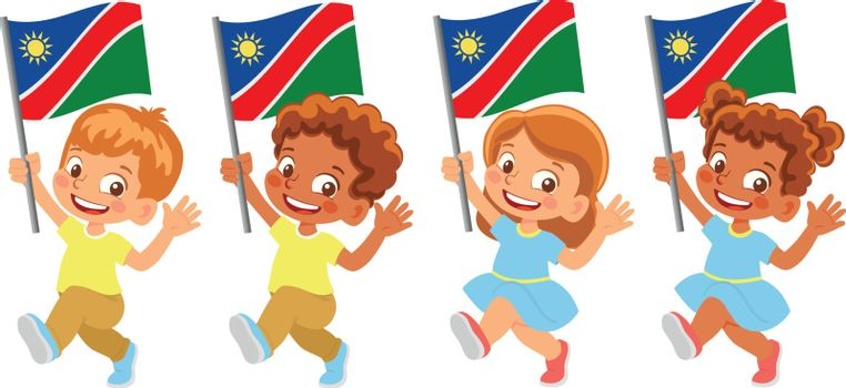 Namibia flag in hand. Children holding flag. National flag of Namibia vector