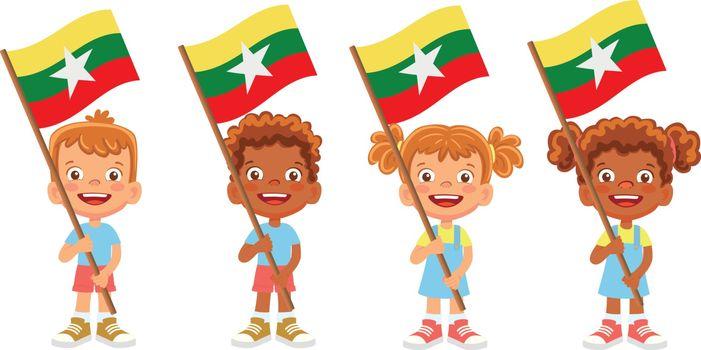Myanmar flag in hand. Children holding flag. National flag of Myanmar vector