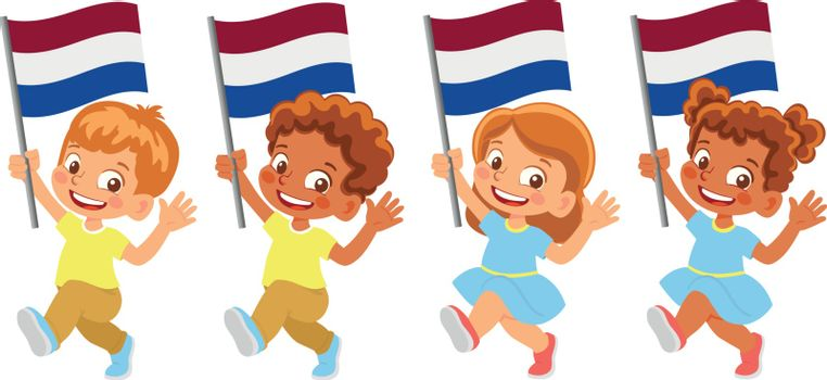 Netherlands flag in hand. Children holding flag. National flag of Netherlands vector