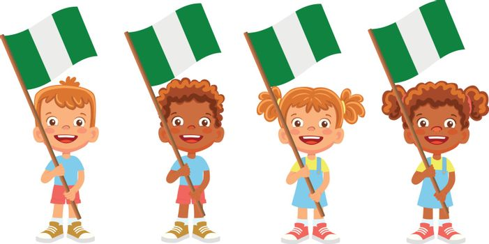 Nigeria flag in hand. Children holding flag. National flag of Nigeria vector