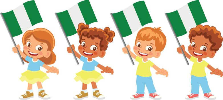 Nigeria flag in hand. Children holding flag. National flag of Nigeria vector