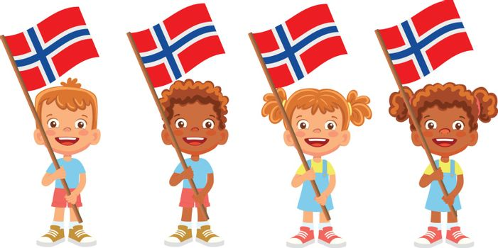 Norway flag in hand. Children holding flag. National flag of Norway vector