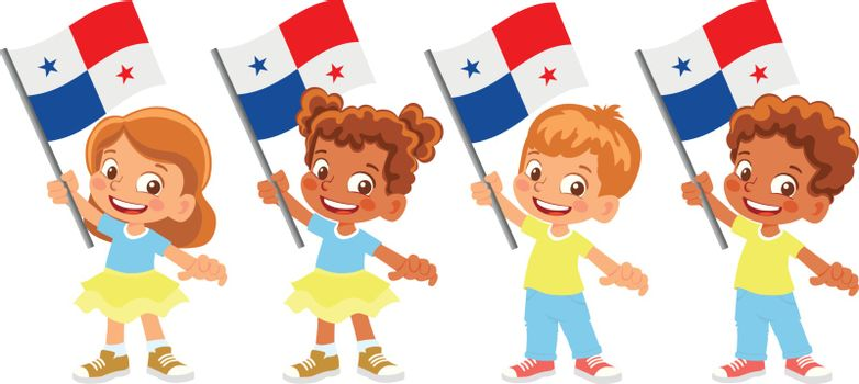 Panama flag in hand. Children holding flag. National flag of Panama vector