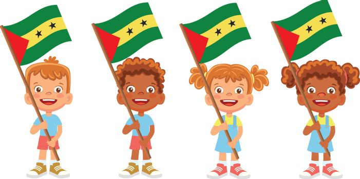 Sao Tome and Principe flag in hand. Children holding flag. National flag of Sao Tome and Principe vector