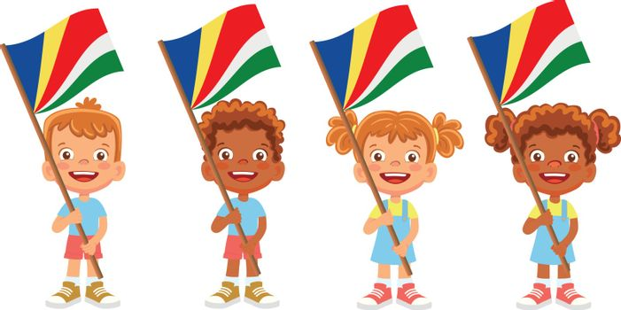 Seychelles flag in hand. Children holding flag. National flag of Seychelles vector