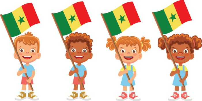 Senegal flag in hand. Children holding flag. National flag of Senegal vector