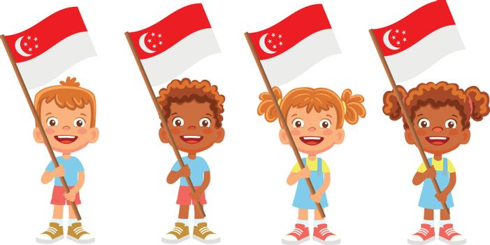 Singapore flag in hand. Children holding flag. National flag of Singapore vector