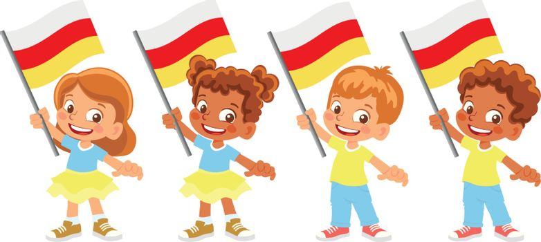 South ossetia flag in hand. Children holding flag. National flag of South ossetia vector