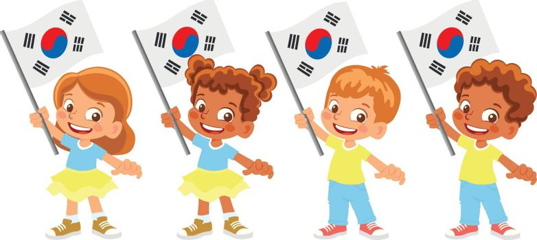 South korea flag in hand. Children holding flag. National flag of South korea vector