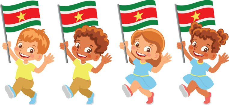 Suriname flag in hand. Children holding flag. National flag of Suriname vector