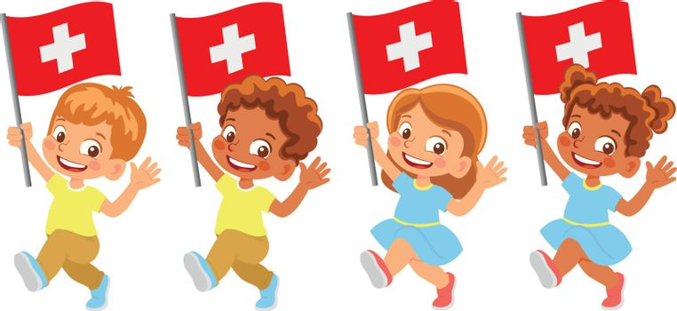 Switzerland flag in hand. Children holding flag. National flag of Switzerland vector