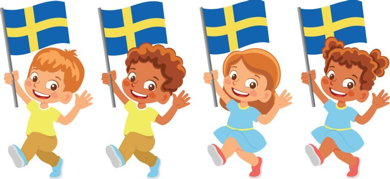 Sweden flag in hand. Children holding flag. National flag of Sweden vector