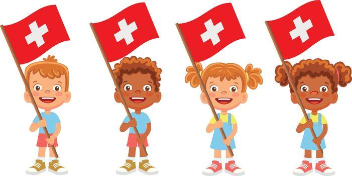 Switzerland flag in hand. Children holding flag. National flag of Switzerland vector