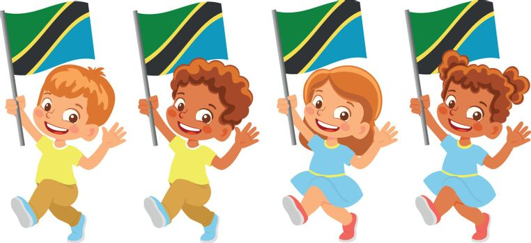 Tanzania flag in hand. Children holding flag. National flag of Tanzania vector