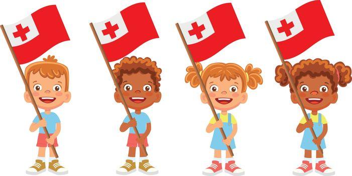 Tonga flag in hand. Children holding flag. National flag of Tonga vector
