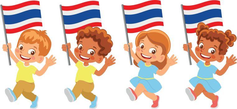Thailand flag in hand. Children holding flag. National flag of Thailand vector