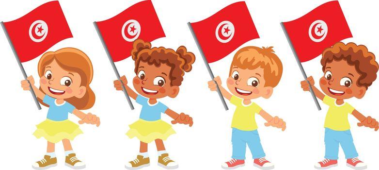 Tunisia flag in hand. Children holding flag. National flag of Tunisia vector
