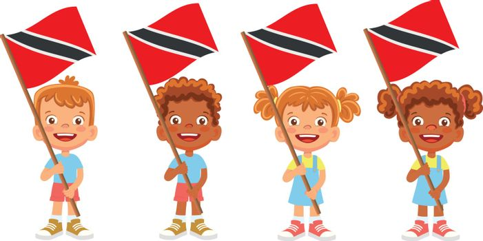 Trinidad and Tobago flag in hand. Children holding flag. National flag of Trinidad and Tobago vector