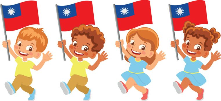 Taiwan flag in hand. Children holding flag. National flag of Taiwan vector