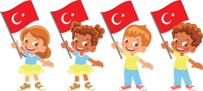 Turkey flag in hand. Children holding flag. National flag of Turkey vector