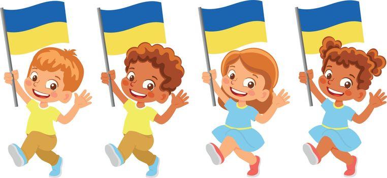 Ukraine flag in hand. Children holding flag. National flag of Ukraine vector
