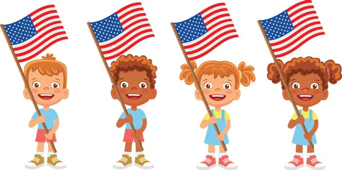 United States of America flag in hand. Children holding flag. National flag of United States of America vector