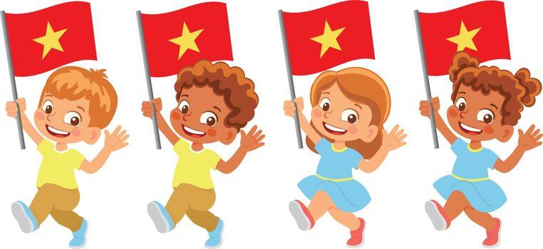 Vietnam flag in hand. Children holding flag. National flag of Vietnam vector