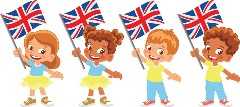 United Kingdom flag in hand. Children holding flag. National flag of United Kingdom vector
