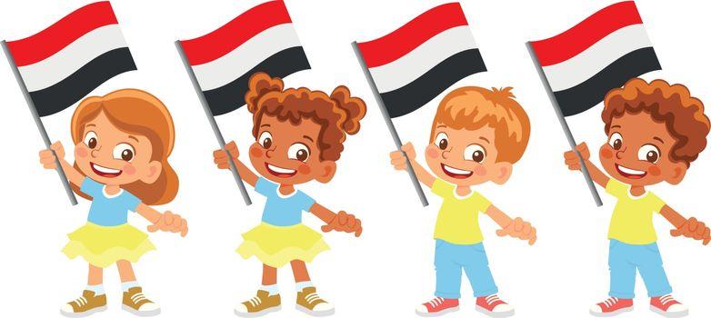 Yemen flag in hand. Children holding flag. National flag of Yemen vector