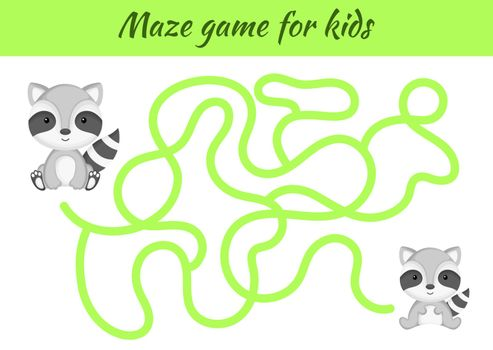 Funny maze or labyrinth game for kids. Help mother find path to baby. Education developing worksheet. Activity page. Cartoon raccoon characters. Riddle for preschool. Color vector stock illustration.
