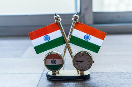 Indian flag clock. Indian Flag and Table Clock Flag. Flag with Golden Clock with Oval Shape Stand useful for Car Dashboard Desk Office Table Decoration. Home Decor Use and Gift object.