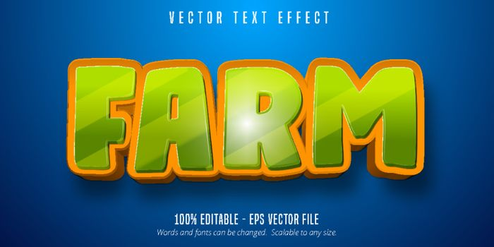 Farm text, cartoon style editable text effect