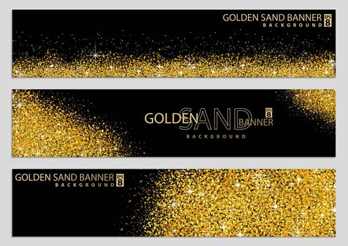 Golden Sand on Black Banner Collection - Happy New Year or Merry Christmas Template, Four Luxury Illustrations, Vector Design Elements