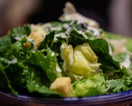 Macro shot of green salad in bowl