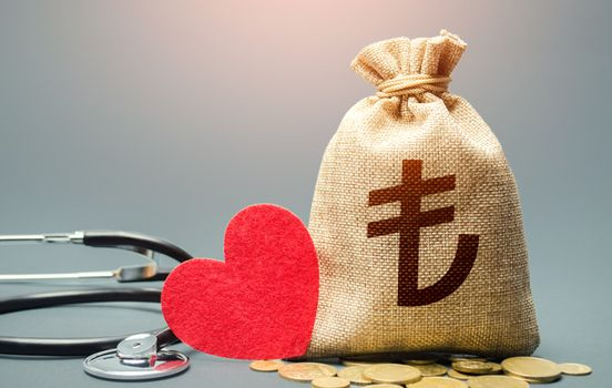 Turkish lira money bag and stethoscope. Health life insurance financing concept. Subsidies. Development, modernization. Funding healthcare system. Reforming and preparing for new challenges.