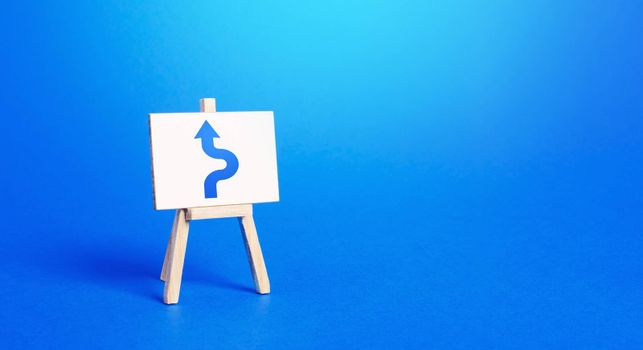 An easel with a blue arrow avoiding an obstacle. Maneuvering, taking right action. Deviation from the route, side mission. Purposefulness and perseverance, confident movement towards the assigned goal