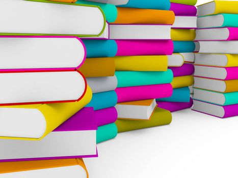 multiple stack of colorful books on white background, partial view
