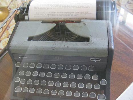 An old typewriter. Mechanical typewriter in the museum